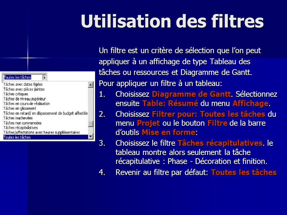 Utilisation des filtres Un filtre est un critère de sélection que lon peut appliquer à un affichage de type Tableau des tâches ou ressources et Diagra