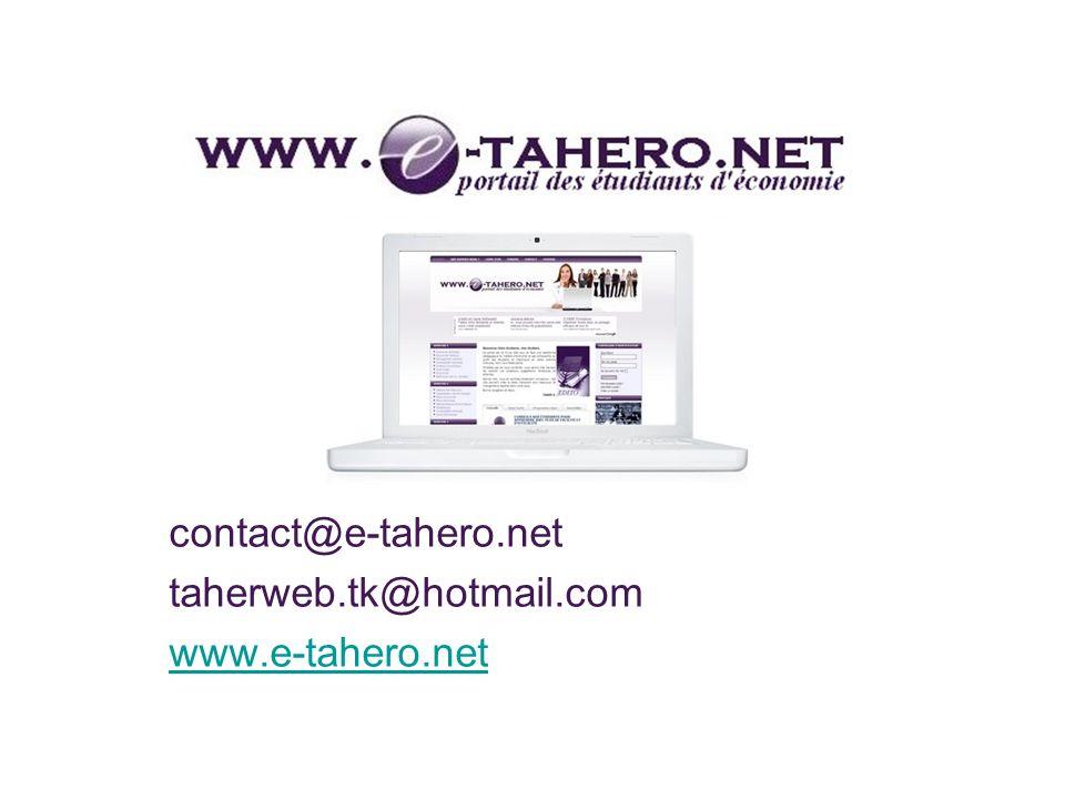 contact@e-tahero.net taherweb.tk@hotmail.com www.e-tahero.net