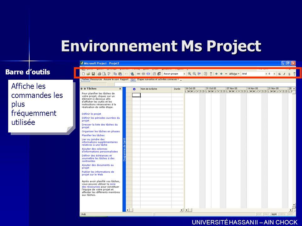 Environnement Ms Project Barre doutils UNIVERSITÉ HASSAN II – AIN CHOCK Affiche les commandes les plus fréquemment utilisée