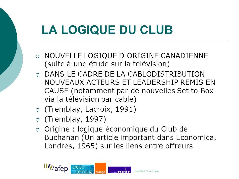 LA LOGIQUE DU CLUB NOUVELLE LOGIQUE D ORIGINE CANADIENNE (suite à une étude sur la télévision) DANS LE CADRE DE LA CABLODISTRIBUTION NOUVEAUX ACTEURS ET LEADERSHIP REMIS EN CAUSE (notamment par de nouvelles Set to Box via la télévision par cable) (Tremblay, Lacroix, 1991) (Tremblay, 1997) Origine : logique économique du Club de Buchanan (Un article important dans Economica, Londres, 1965) sur les liens entre offreurs
