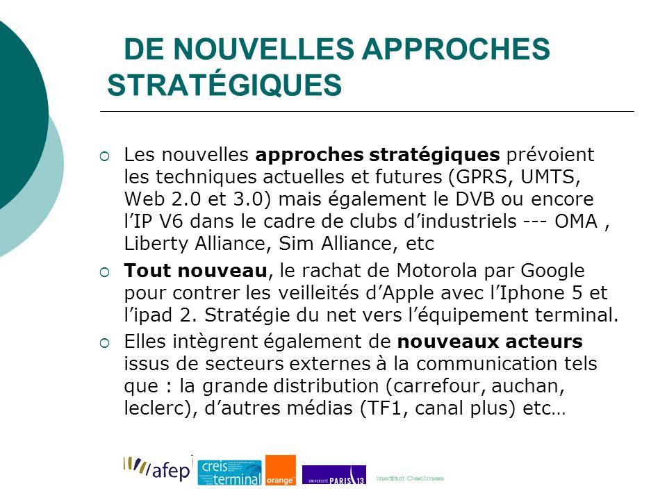 DE NOUVELLES APPROCHES STRATÉGIQUES Les nouvelles approches stratégiques prévoient les techniques actuelles et futures (GPRS, UMTS, Web 2.0 et 3.0) mais également le DVB ou encore lIP V6 dans le cadre de clubs dindustriels --- OMA, Liberty Alliance, Sim Alliance, etc Tout nouveau, le rachat de Motorola par Google pour contrer les veilleités dApple avec lIphone 5 et lipad 2.