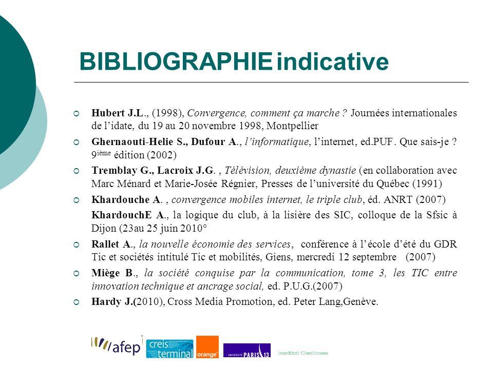 BIBLIOGRAPHIEindicative Hubert J.L., (1998), Convergence, comment ça marche .