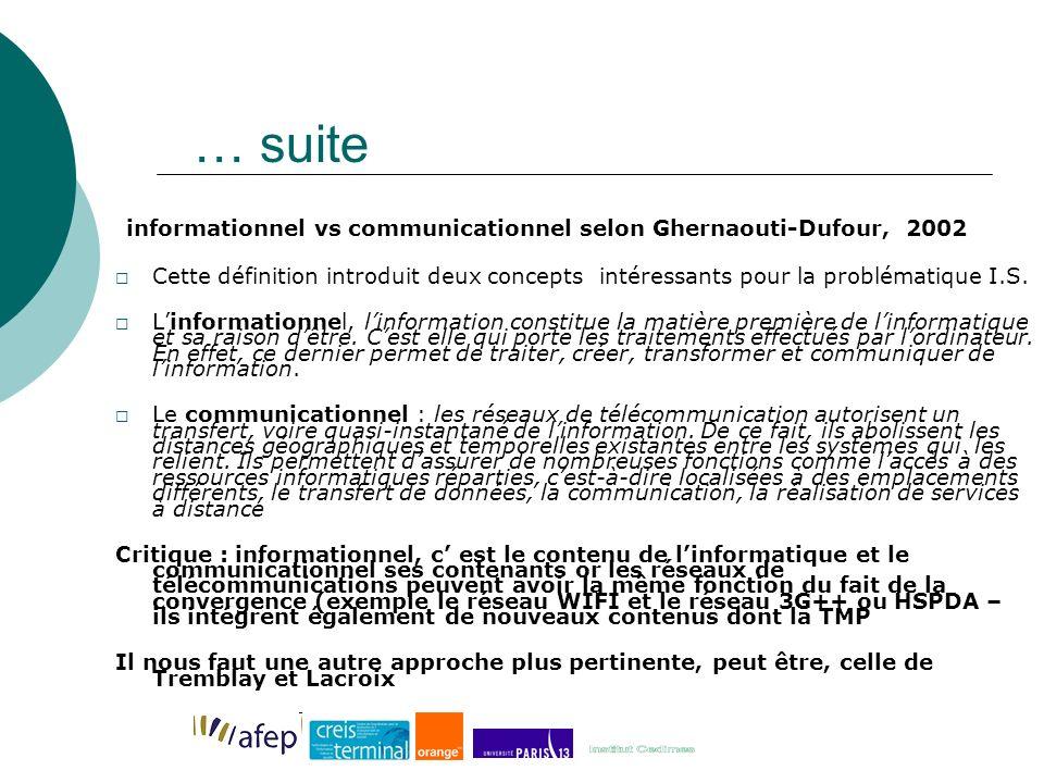 … suite informationnel vs communicationnel selon Ghernaouti-Dufour, 2002 Cette définition introduit deux concepts intéressants pour la problématique I.S.