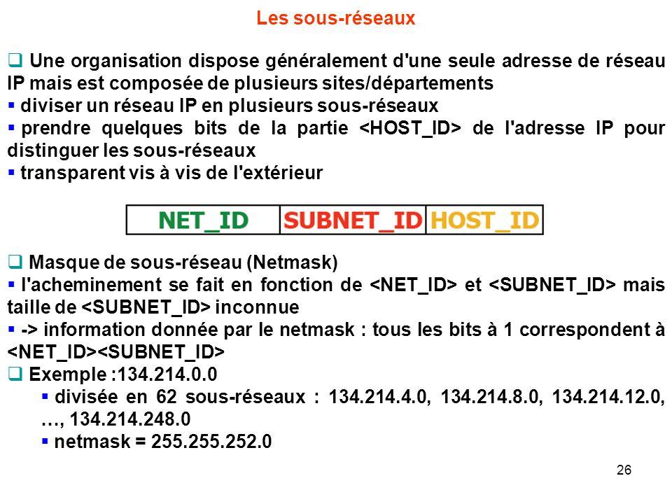 Les sous-réseaux Une organisation dispose généralement d'une seule adresse de réseau IP mais est composée de plusieurs sites/départements diviser un r