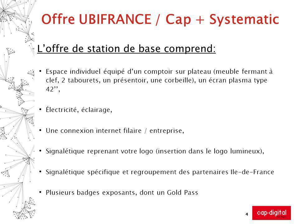 4 Offre UBIFRANCE / Cap + Systematic Loffre de station de base comprend: Espace individuel équipé dun comptoir sur plateau (meuble fermant à clef, 2 t