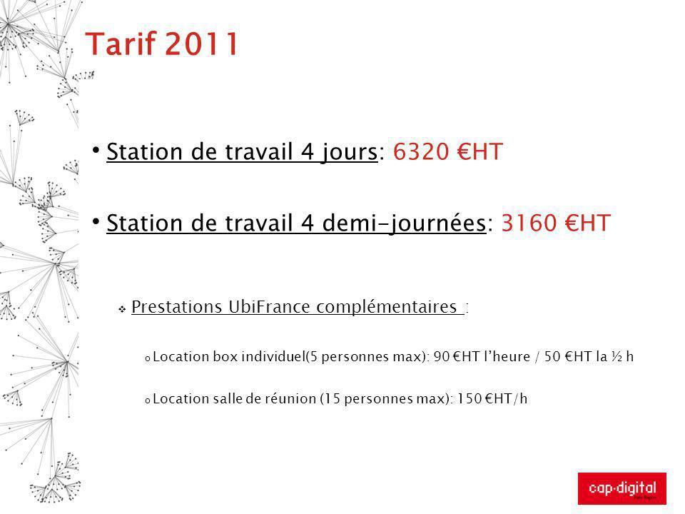 Tarif 2011 Station de travail 4 jours: 6320 HT Station de travail 4 demi-journées: 3160 HT Prestations UbiFrance complémentaires : o Location box indi