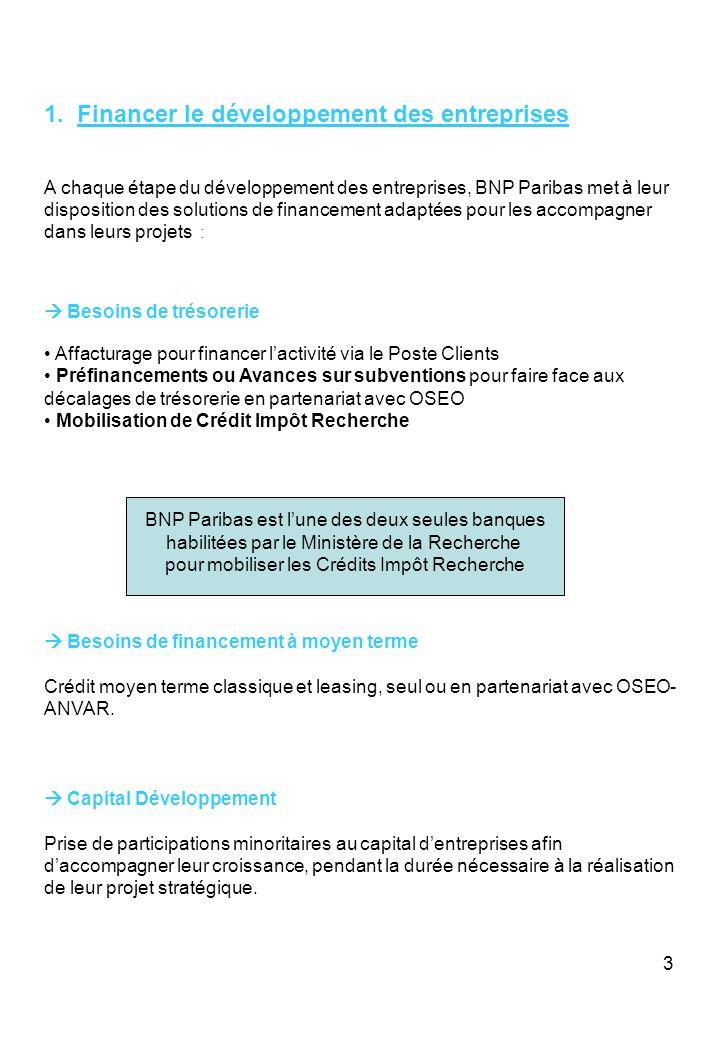 3 1. Financer le développement des entreprises A chaque étape du développement des entreprises, BNP Paribas met à leur disposition des solutions de fi