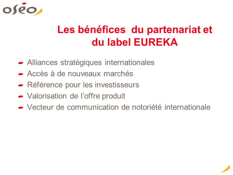 Les bénéfices du partenariat et du label EUREKA Alliances stratégiques internationales Accès à de nouveaux marchés Référence pour les investisseurs Valorisation de loffre produit Vecteur de communication de notoriété internationale