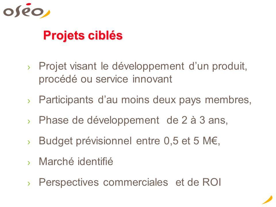 Projets ciblés Projet visant le développement dun produit, procédé ou service innovant Participants dau moins deux pays membres, Phase de développement de 2 à 3 ans, Budget prévisionnel entre 0,5 et 5 M, Marché identifié Perspectives commerciales et de ROI