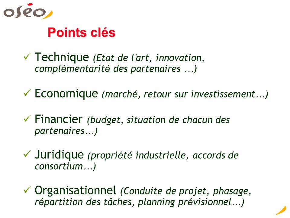 Points clés Technique (Etat de l art, innovation, compl é mentarit é des partenaires … ) Economique (march é, retour sur investissement … ) Financier (budget, situation de chacun des partenaires … ) Juridique (propri é t é industrielle, accords de consortium … ) Organisationnel (Conduite de projet, phasage, r é partition des tâches, planning pr é visionnel … )