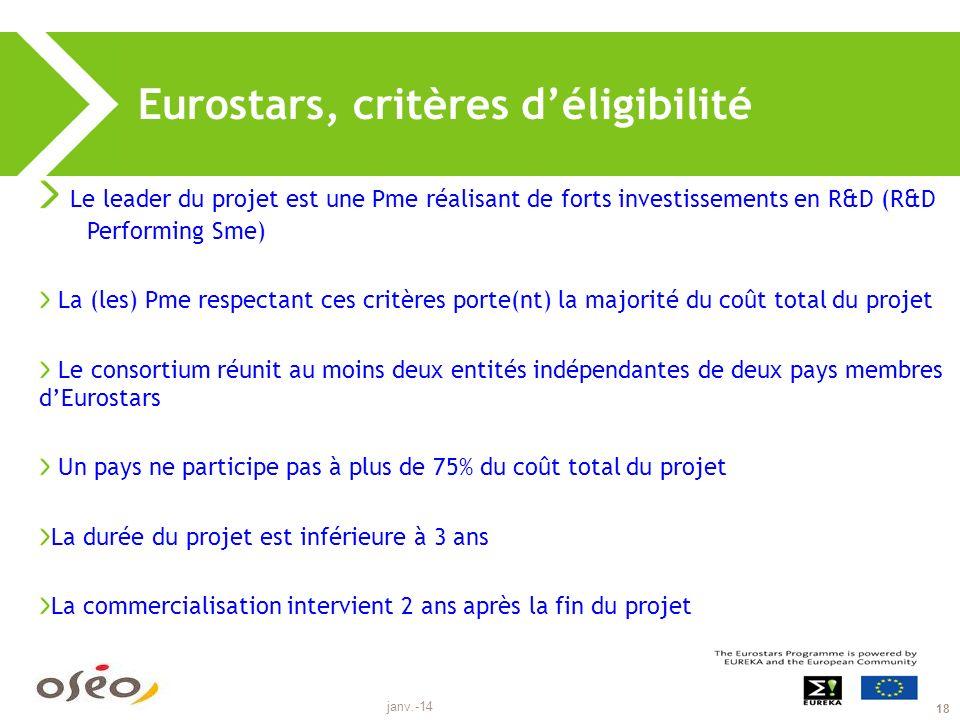 janv.-14 18 Eurostars, critères déligibilité Le leader du projet est une Pme réalisant de forts investissements en R&D (R&D Performing Sme) La (les) Pme respectant ces critères porte(nt) la majorité du coût total du projet Le consortium réunit au moins deux entités indépendantes de deux pays membres dEurostars Un pays ne participe pas à plus de 75% du coût total du projet La durée du projet est inférieure à 3 ans La commercialisation intervient 2 ans après la fin du projet