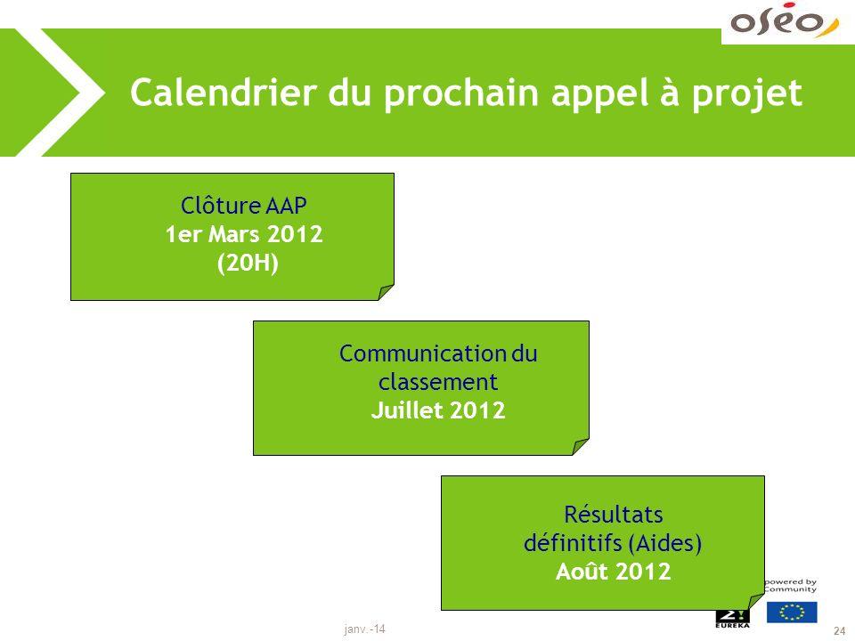 janv.-14 24 Calendrier du prochain appel à projet Clôture AAP 1er Mars 2012 (20H) Communication du classement Juillet 2012 Résultats définitifs (Aides) Août 2012