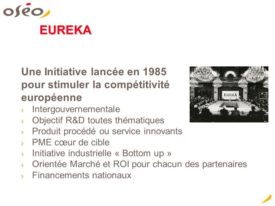 EUREKA Une Initiative lancée en 1985 pour stimuler la compétitivité européenne Intergouvernementale Objectif R&D toutes thématiques Produit procédé ou service innovants PME cœur de cible Initiative industrielle « Bottom up » Orientée Marché et ROI pour chacun des partenaires Financements nationaux Concevoir aujourd hui les innovations de demain