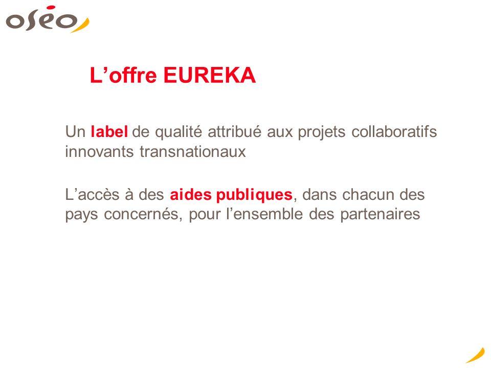 Loffre EUREKA Un label de qualité attribué aux projets collaboratifs innovants transnationaux Laccès à des aides publiques, dans chacun des pays concernés, pour lensemble des partenaires