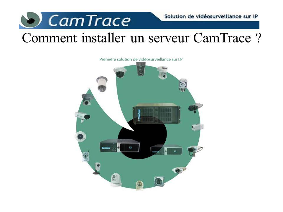 CamTrace est configuré par défaut et possède deux interfaces réseaux Ethernet, ports RJ-45, étiquetées « ENT » pour « entreprise » et « CAM » pour « caméra » ; Adresse par défaut du réseau dentreprise : 192.168.1.100 Adresse par défaut du réseau des caméras : 192.168.0.100 Les valeurs des adresses IP sont modifiables dans Menucam.