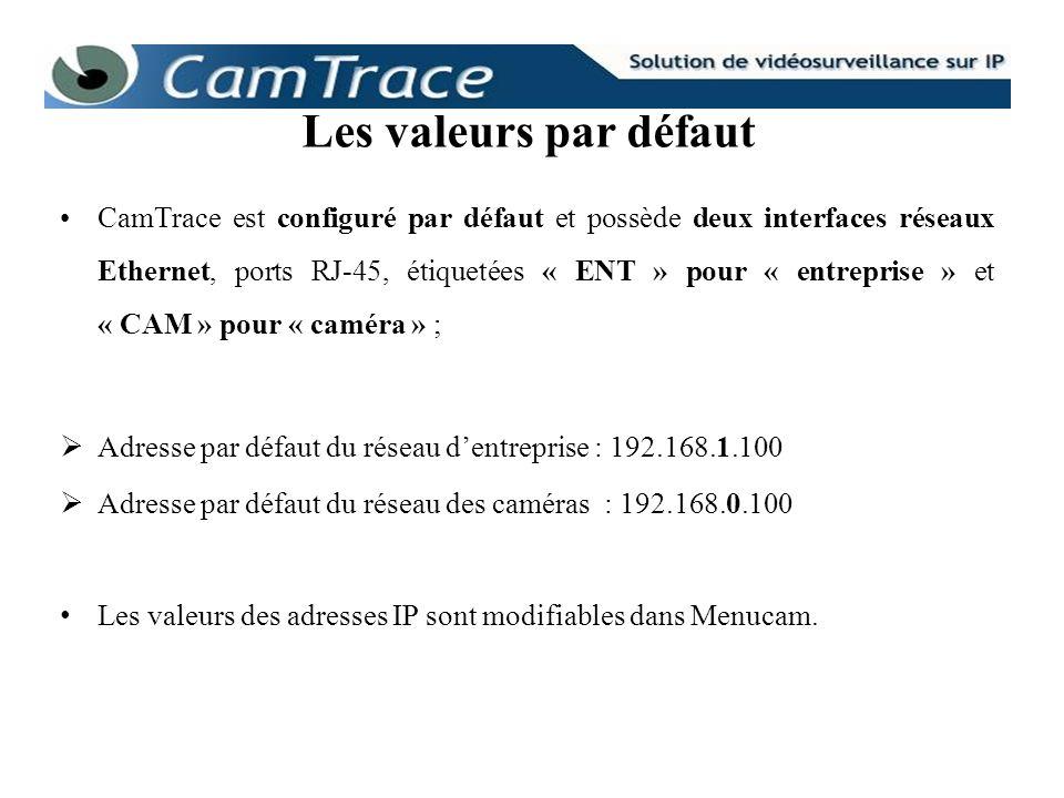 CamTrace est configuré par défaut et possède deux interfaces réseaux Ethernet, ports RJ-45, étiquetées « ENT » pour « entreprise » et « CAM » pour « c