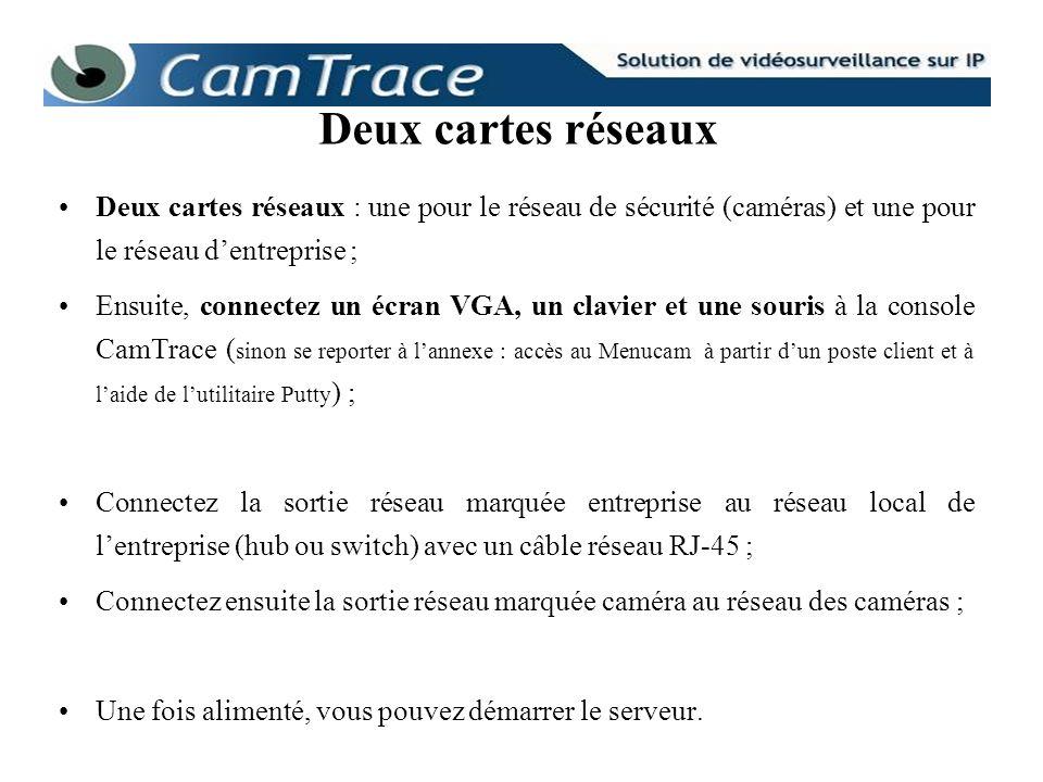 Deux cartes réseaux : une pour le réseau de sécurité (caméras) et une pour le réseau dentreprise ; Ensuite, connectez un écran VGA, un clavier et une