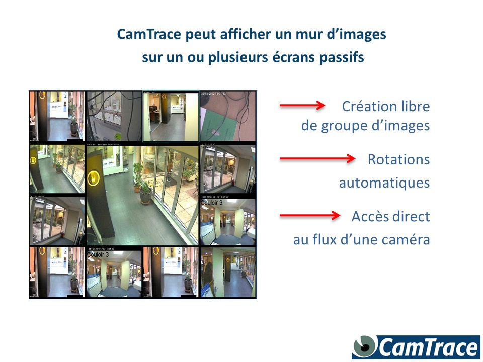 CamTrace peut afficher un mur dimages sur un ou plusieurs écrans passifs Création libre de groupe dimages Rotations automatiques Accès direct au flux