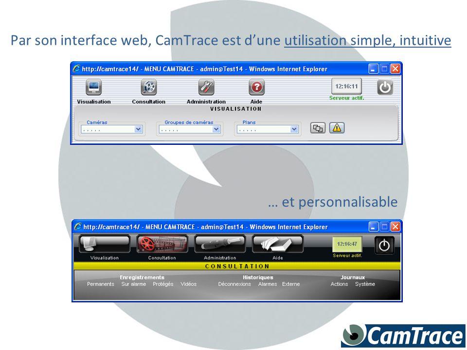 Par son interface web, CamTrace est dune utilisation simple, intuitive … et personnalisable