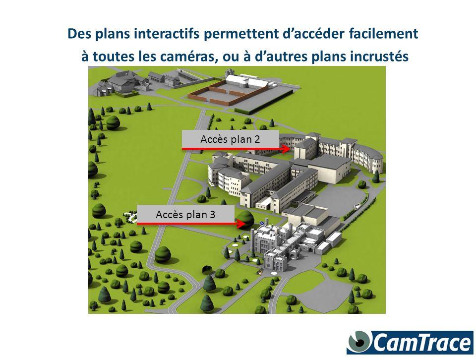 Des plans interactifs permettent daccéder facilement à toutes les caméras, ou à dautres plans incrustés Accès plan 3 Accès plan 2