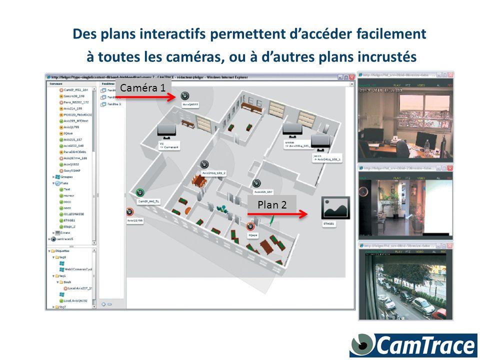 Des plans interactifs permettent daccéder facilement à toutes les caméras, ou à dautres plans incrustés Caméra 1 Plan 2