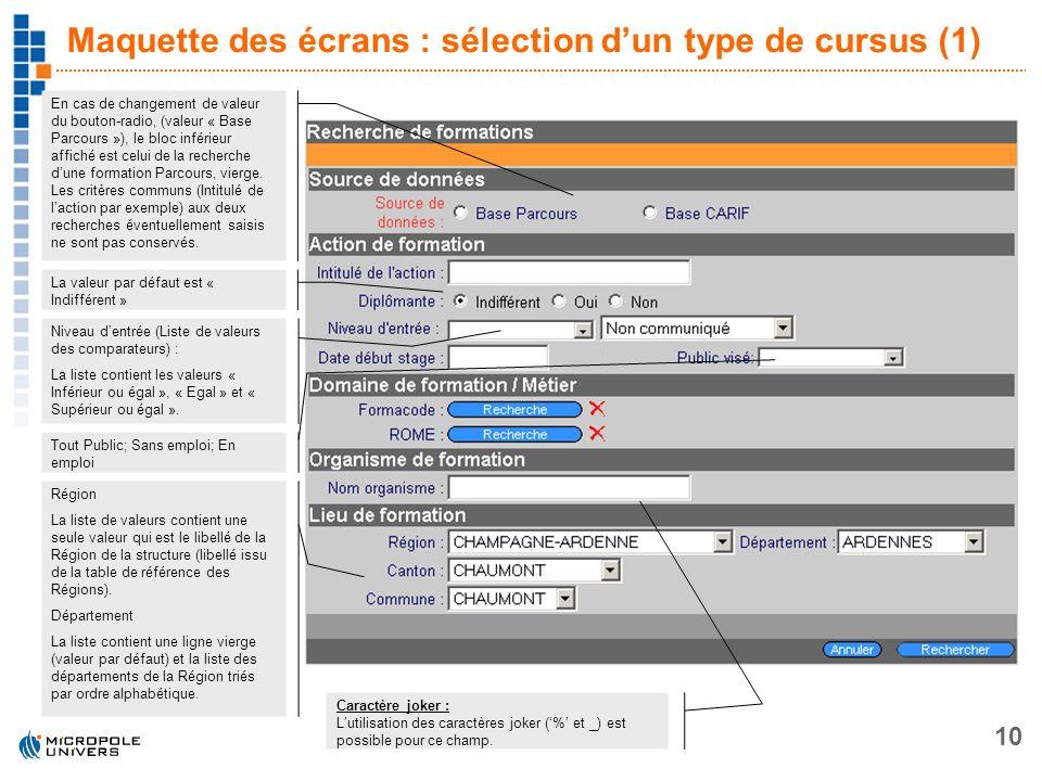 10 Maquette des écrans : sélection dun type de cursus (1) En cas de changement de valeur du bouton-radio, (valeur « Base Parcours »), le bloc inférieu