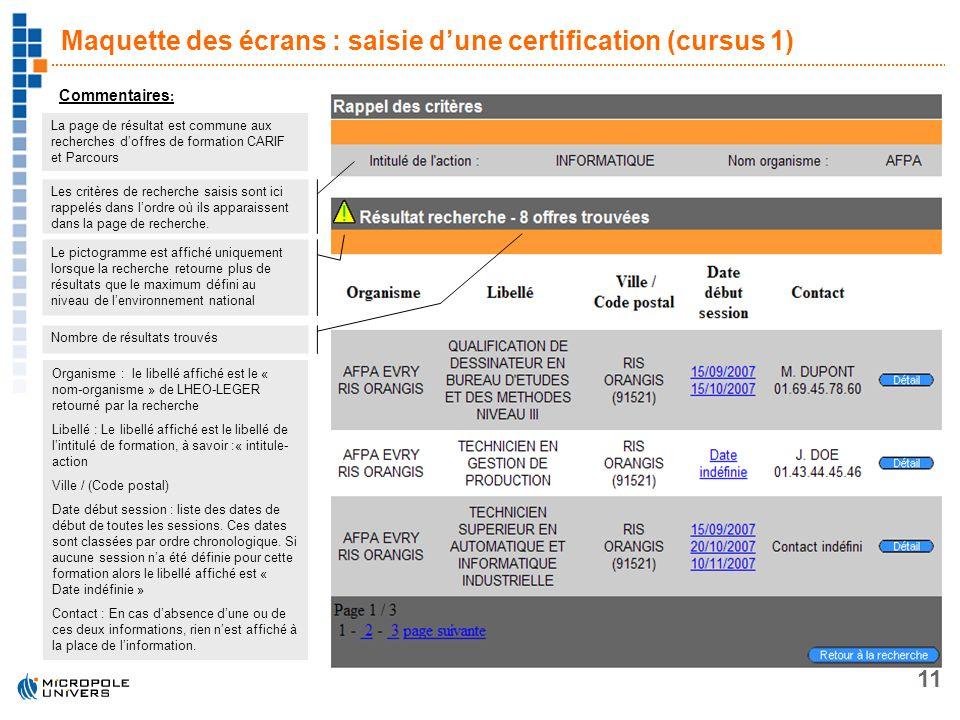 11 Maquette des écrans : saisie dune certification (cursus 1) Commentaires : La page de résultat est commune aux recherches doffres de formation CARIF