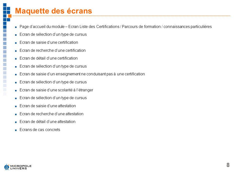 8 Maquette des écrans Page daccueil du module – Ecran Liste des Certifications / Parcours de formation / connaissances particulières Ecran de sélectio