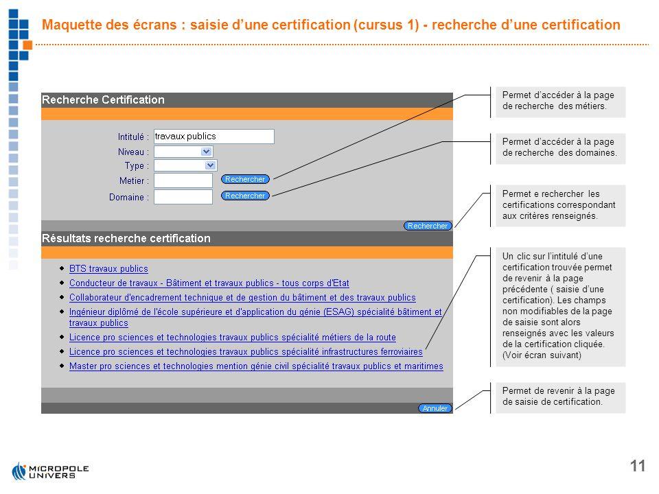 11 Maquette des écrans : saisie dune certification (cursus 1) - recherche dune certification Permet daccéder à la page de recherche des métiers. Perme