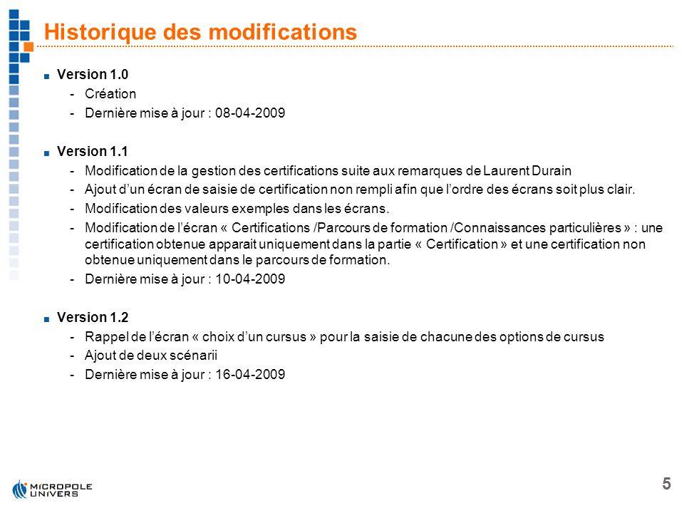 5 Historique des modifications Version 1.0 -Création -Dernière mise à jour : 08-04-2009 Version 1.1 -Modification de la gestion des certifications sui