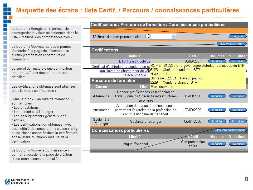 8 Maquette des écrans : liste Certif. / Parcours / connaissances particulières Le bouton « Nouveau cursus » permet daccéder à la page de sélection dun