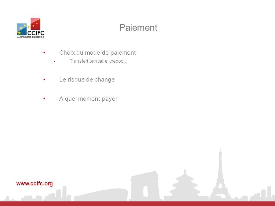 Choix du mode de paiement Transfert bancaire, credoc… Le risque de change A quel moment payer Paiement www.ccifc.org