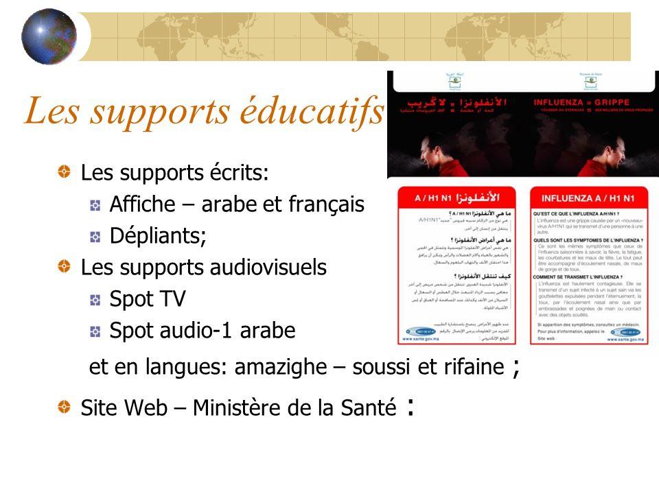 Les supports éducatifs Les supports écrits: Affiche – arabe et français Dépliants; Les supports audiovisuels Spot TV Spot audio-1 arabe et en langues:
