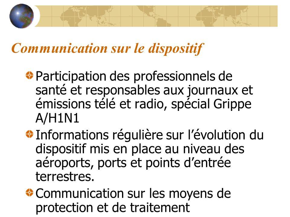 Communication sur le dispositif Participation des professionnels de santé et responsables aux journaux et émissions télé et radio, spécial Grippe A/H1