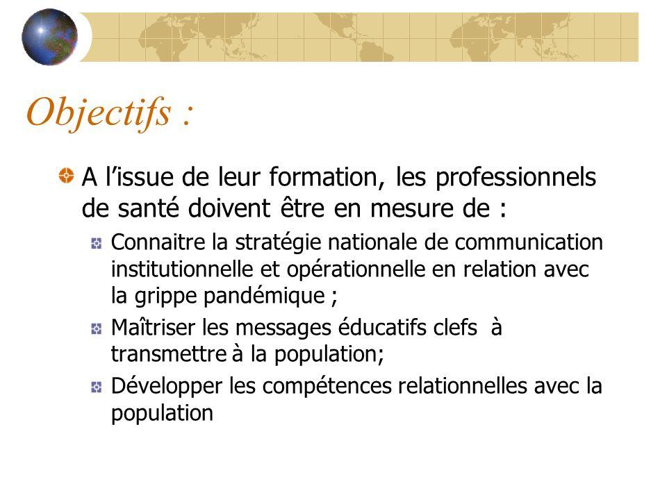 Objectifs : A lissue de leur formation, les professionnels de santé doivent être en mesure de : Connaitre la stratégie nationale de communication inst