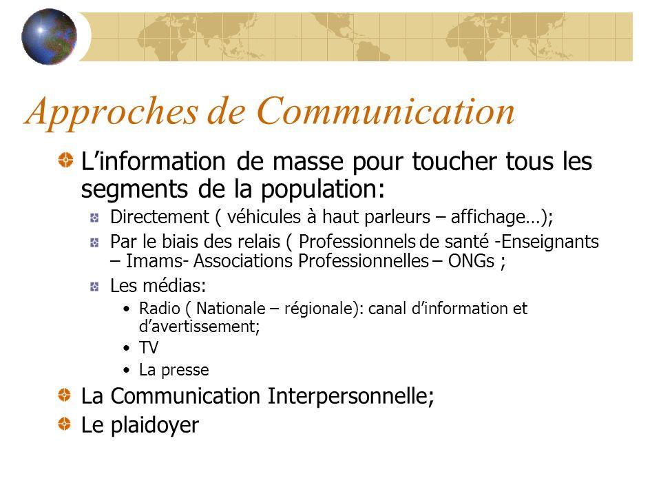Approches de Communication Linformation de masse pour toucher tous les segments de la population: Directement ( véhicules à haut parleurs – affichage…