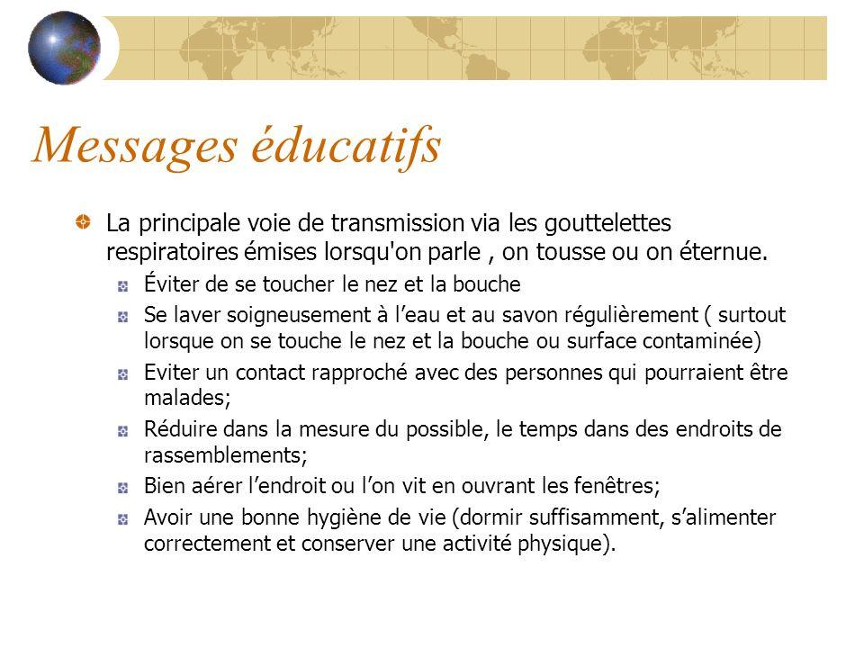 Messages éducatifs La principale voie de transmission via les gouttelettes respiratoires émises lorsqu'on parle, on tousse ou on éternue. Éviter de se