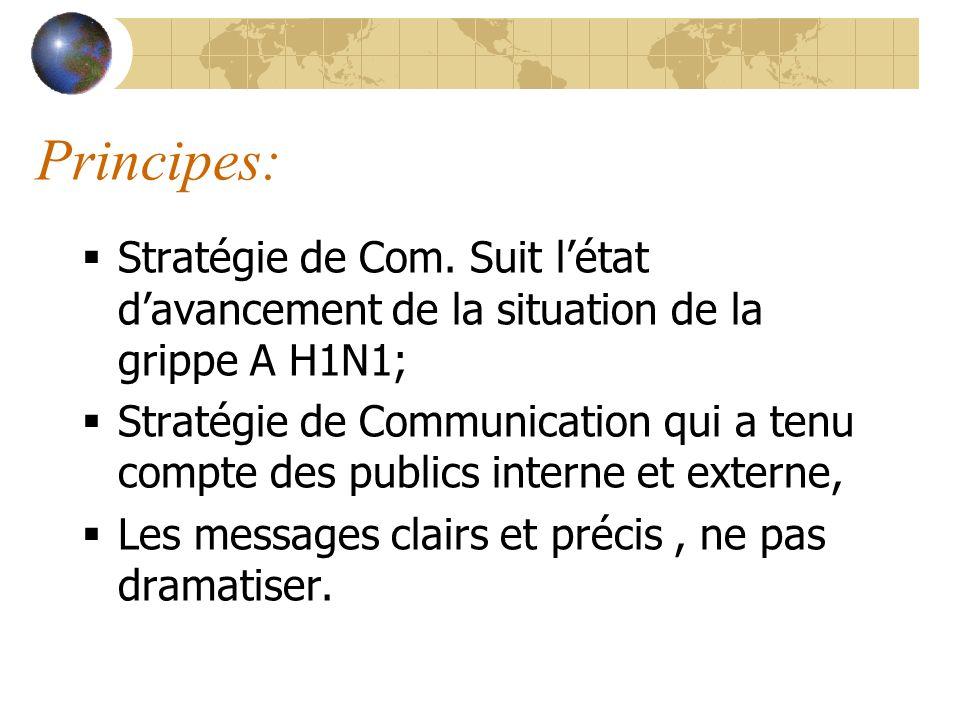 Principes: Stratégie de Com. Suit létat davancement de la situation de la grippe A H1N1; Stratégie de Communication qui a tenu compte des publics inte