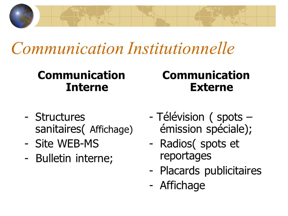 Communication Institutionnelle Communication Interne -Structures sanitaires( Affichage) -Site WEB-MS - Bulletin interne; Communication Externe - Télév