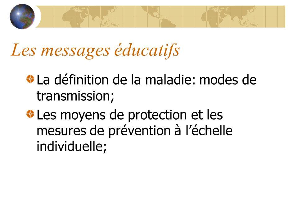 Les messages éducatifs La définition de la maladie: modes de transmission; Les moyens de protection et les mesures de prévention à léchelle individuel