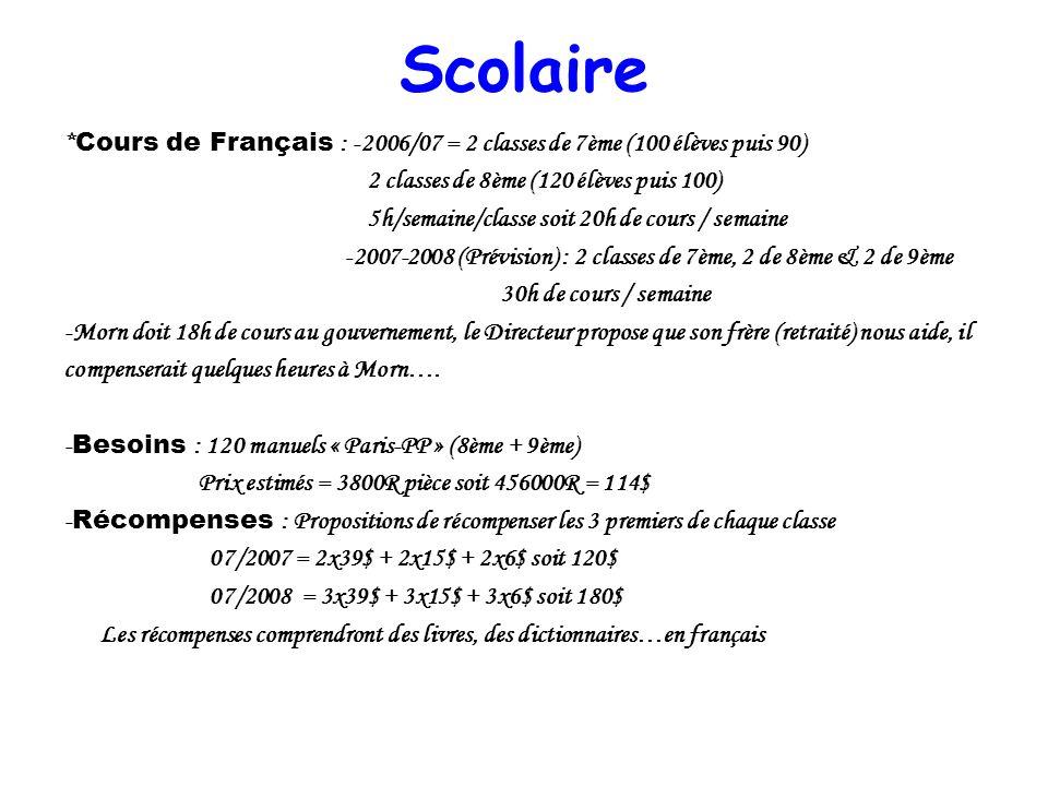 Scolaire * Cours de Français : -2006/07 = 2 classes de 7ème (100 élèves puis 90) 2 classes de 8ème (120 élèves puis 100) 5h/semaine/classe soit 20h de