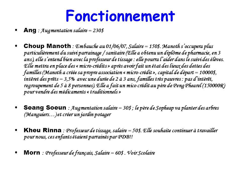 Fonctionnement Ang : Augmentation salaire = 230$ Choup Manoth : Embauche au 01/06/07, Salaire = 150$. Manoth soccupera plus particulièrement du suivi