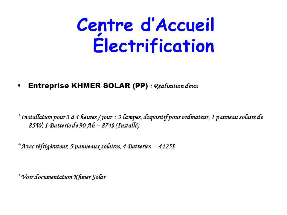 Entreprise KHMER SOLAR (PP) : Réalisation devis *Installation pour 3 à 4 heures / jour : 3 lampes, dispositif pour ordinateur, 1 panneau solaire de 85