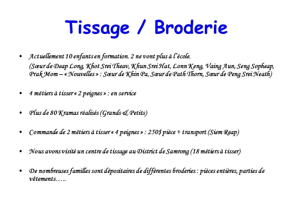 Tissage / Broderie Actuellement 10 enfants en formation. 2 ne vont plus à lécole. (Sœur de Deap Long, Khot Srei Theav, Khun Srei Hat, Lonn Keng, Vaing