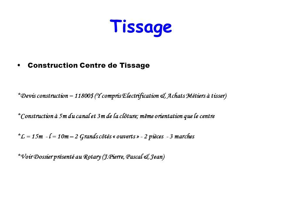 Tissage Construction Centre de Tissage *Devis construction = 11800$ (Y compris Electrification & Achats Métiers à tisser) *Construction à 5m du canal