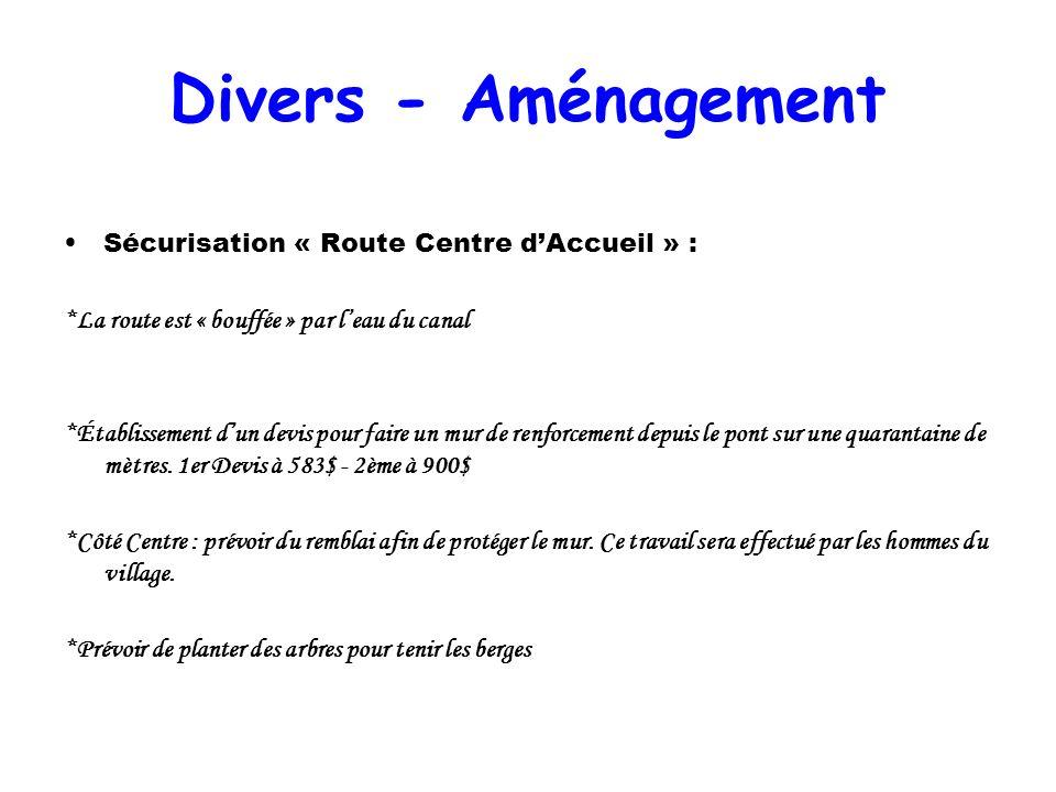 Divers - Aménagement Sécurisation « Route Centre dAccueil » : *La route est « bouffée » par leau du canal *Établissement dun devis pour faire un mur d