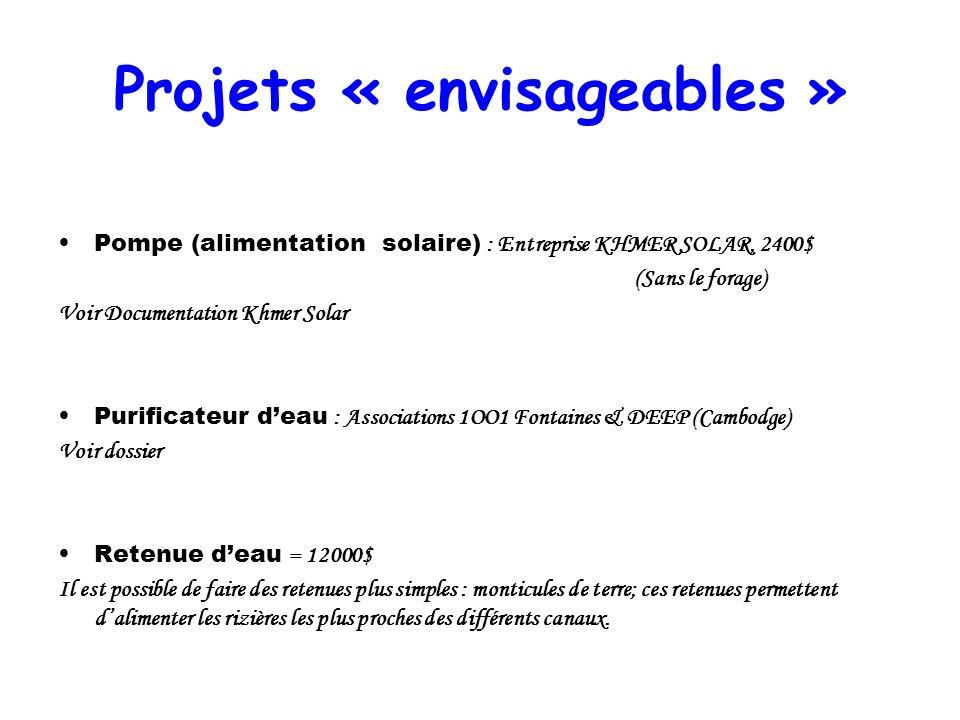 Projets « envisageables » Pompe (alimentation solaire) : Entreprise KHMER SOLAR, 2400$ (Sans le forage) Voir Documentation Khmer Solar Purificateur de