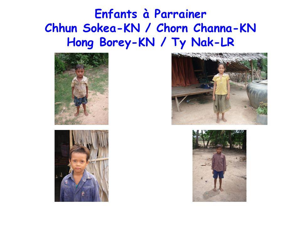 Enfants à Parrainer Hi Reaksea-PG / Path Thorn - TP Peng Srei Neath - TP / Meuv Reaksmey - VP