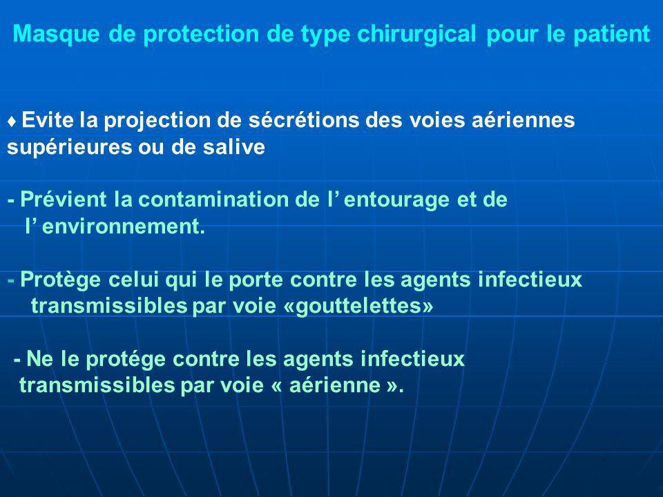 Evite la projection de sécrétions des voies aériennes supérieures ou de salive - Prévient la contamination de l entourage et de l environnement.