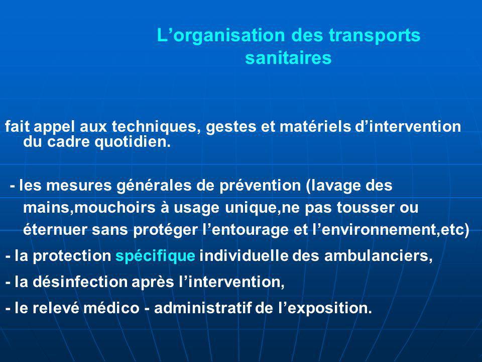 Lorganisation des transports sanitaires fait appel aux techniques, gestes et matériels dintervention du cadre quotidien.